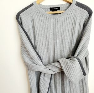 Calvin Klein Jeans|Steel n Charcoal Ribbed Sweater